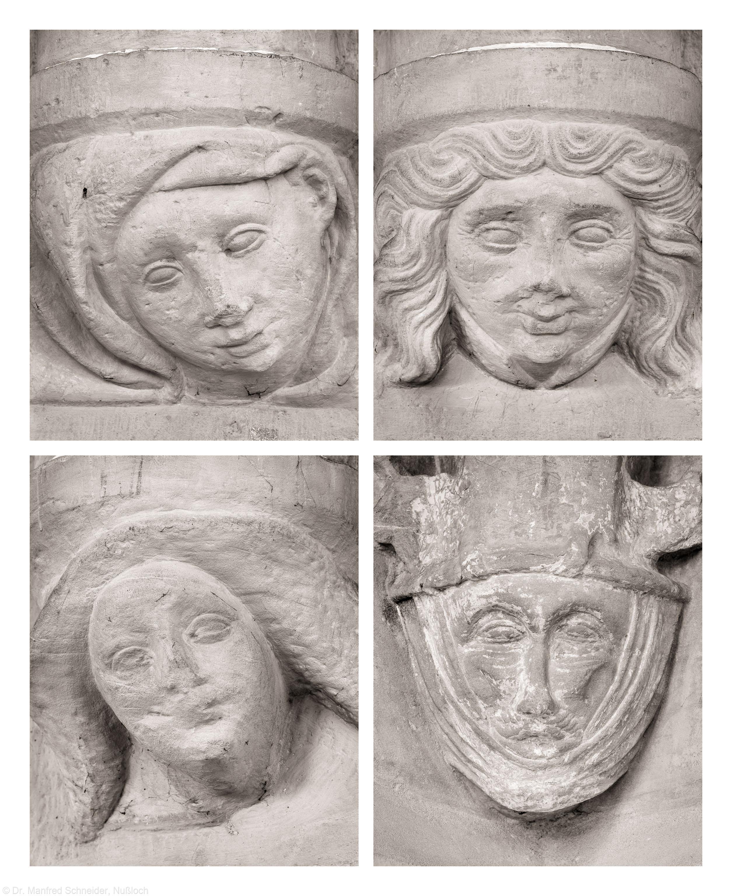 Heidelberg - Heiliggeistkirche - Nordempore - v.l.n.r., v.o.n.u: 1. bis 3. Figur am unteren Dienstabschluß der Nordseite, von Westen aus gezählt, Figur am unteren Dienstabschluß der Südostseite (aufgenommen im Juni 2015, am späten Vormittag)