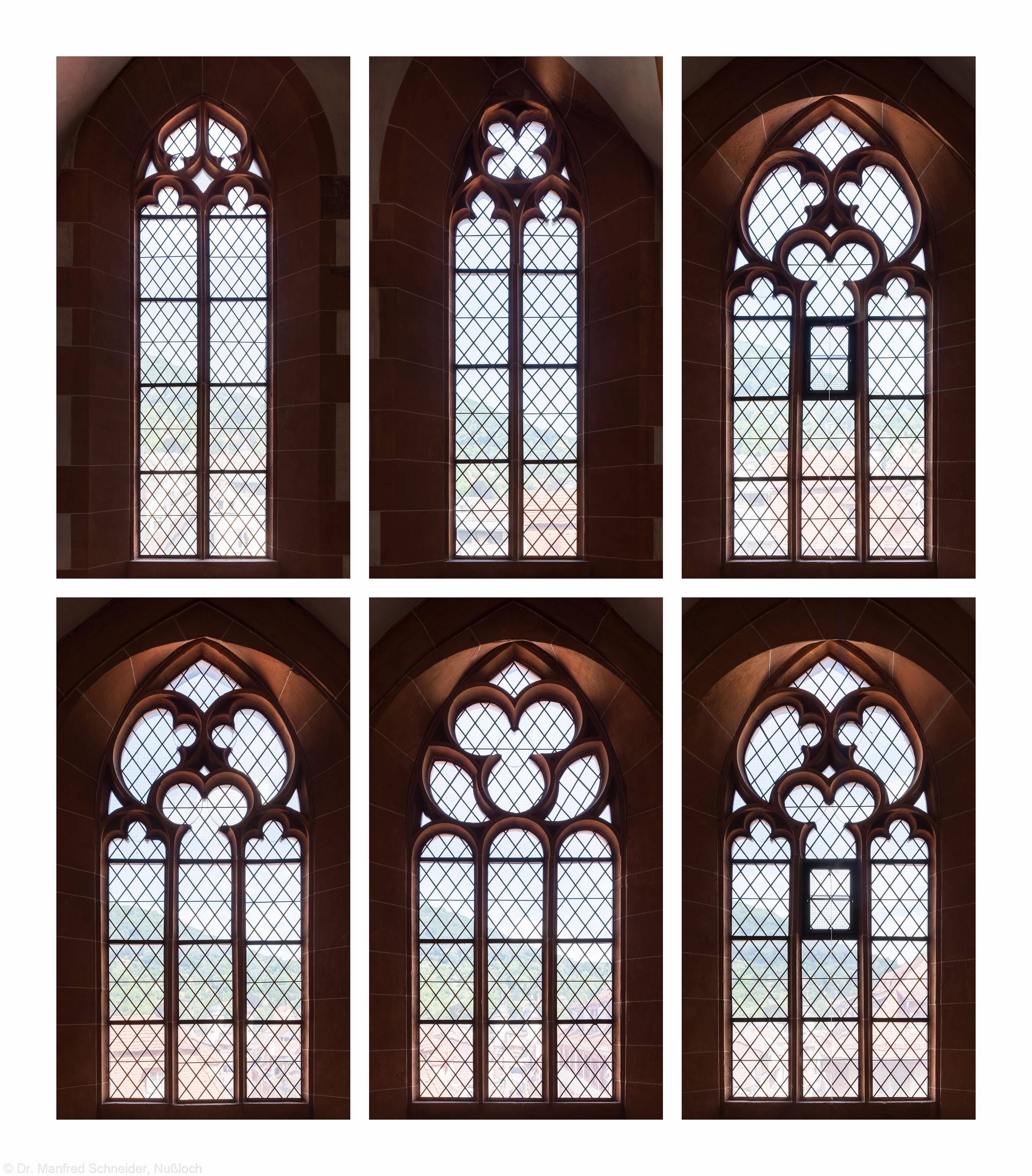Heidelberg - Heiliggeistkirche - Nordempore - 1./2./3. und 4./5./6. Joch, von Westen aus gezählt - Fenster und Maßwerke (aufgenommen im Juni/Juli 2015, nachmittags)