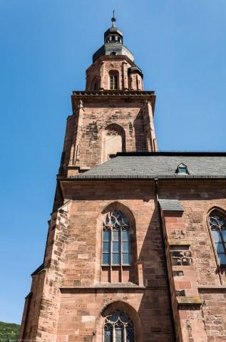 Heidelberg - Heiliggeistkirche - Südseite - Blick nach oben auf den Westbau und den Turm (aufgenommen im Juni 2015, am späten Vormittag)