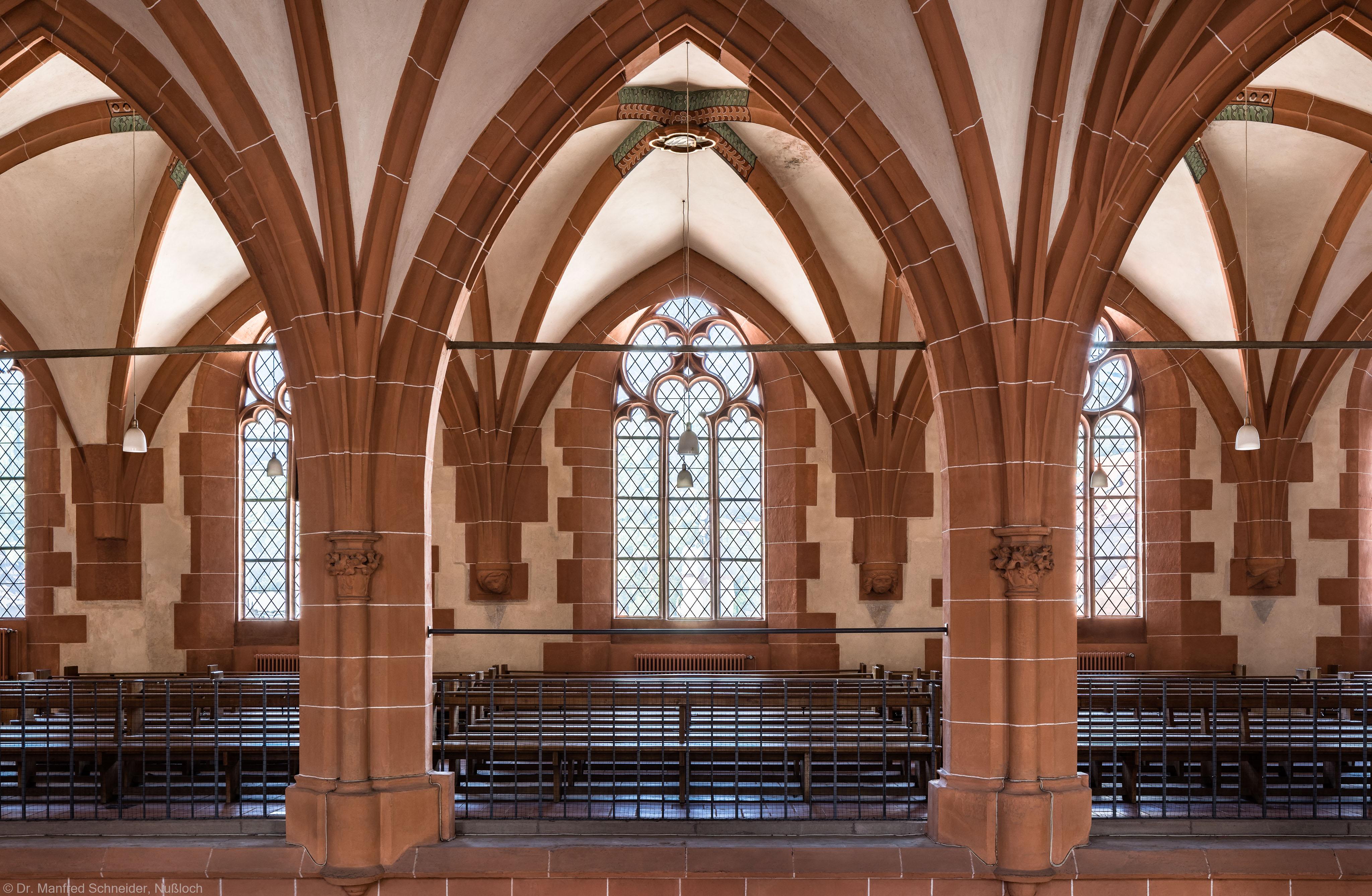Heidelberg - Heiliggeistkirche - Nordempore - Blick von der Mitte der Südempore auf die Nordempore (aufgenommen im Juni 2015, am späten Nachmittag)