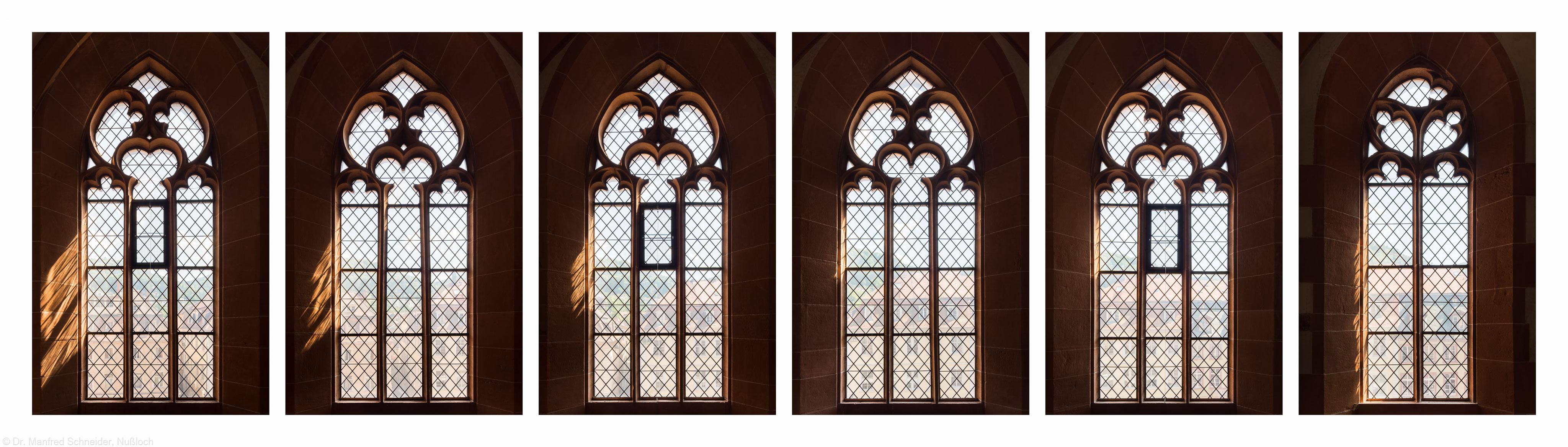 Heidelberg - Heiliggeistkirche - Südempore - 6./5./4./3./2./1. Joch, von Westen aus gezählt - Fenster und Maßwerk (aufgenommen im Juni 2015, am Nachmittag)