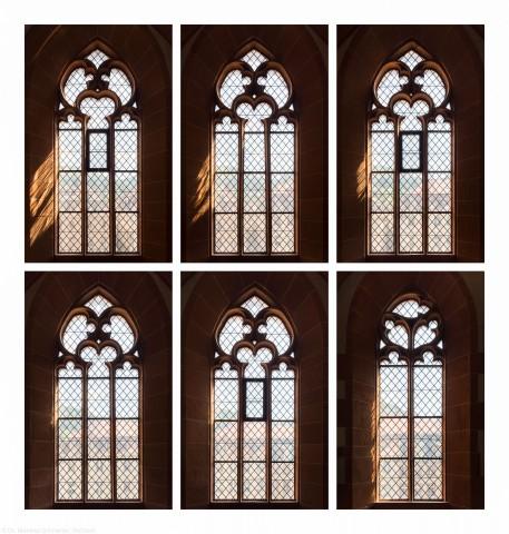 Heidelberg - Heiliggeistkirche - Südempore - 6./5./4. und 3./2./1. Joch, von Westen aus gezählt - Fenster und Maßwerk (aufgenommen im Juni 2015, am Nachmittag)