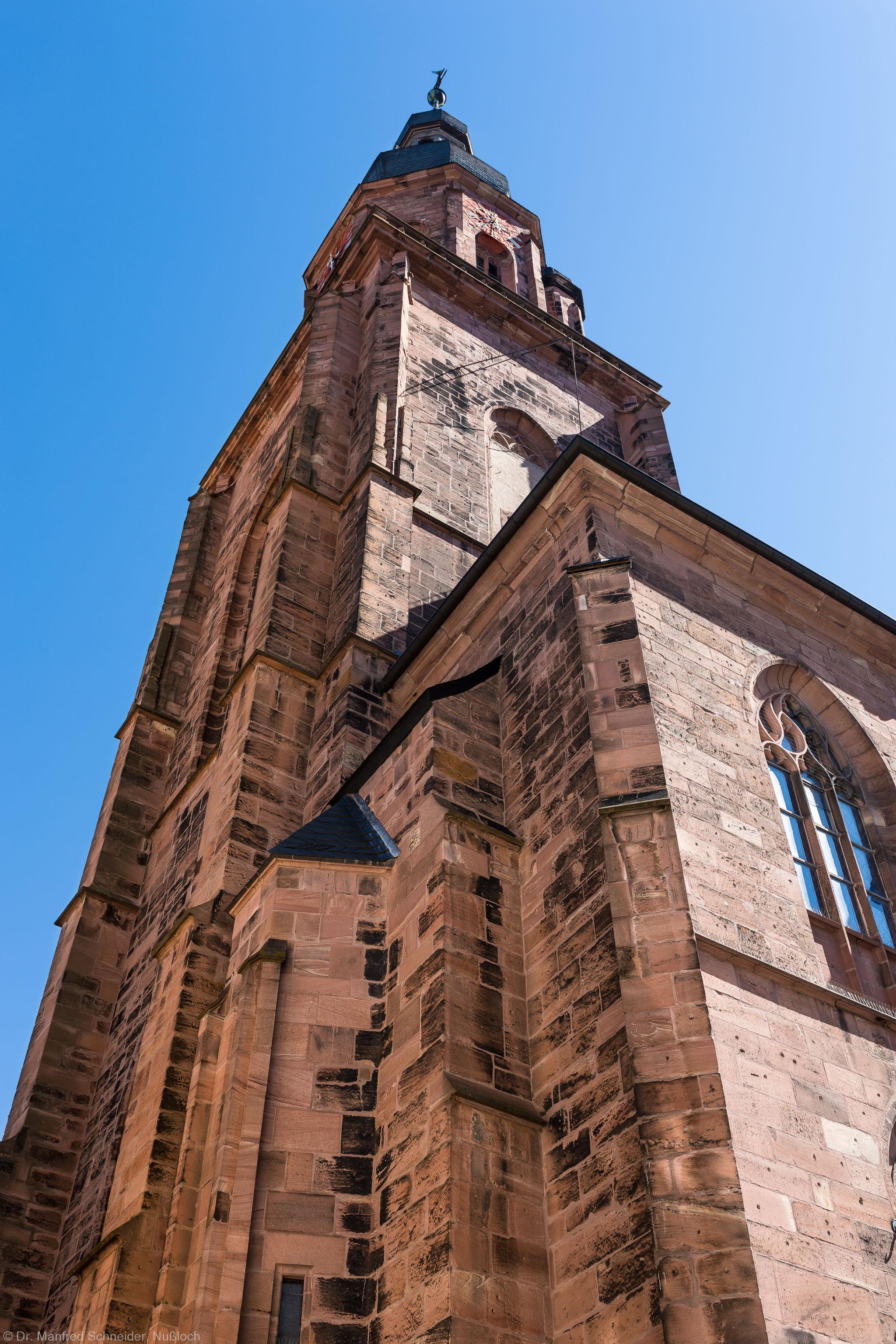 Heidelberg - Heiliggeistkirche - Südwestseite - Blick nach oben auf den Westbau und den Turm (aufgenommen im Juli 2015, am späten Vormittag)