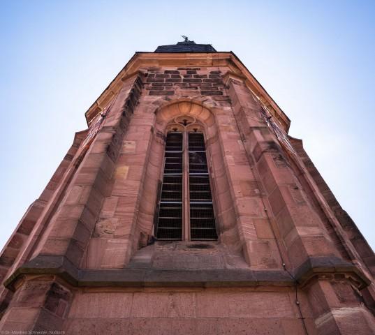 Heidelberg - Heiliggeistkirche - Turm - Blick von Nordwesten der Aussichtsplattform nach oben auf das Turmoktogon (aufgenommen im Juli 2015, um die Mittagszeit)