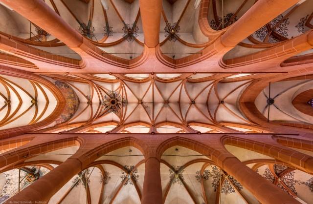 Heidelberg - Heiliggeistkirche - Mittelschiff - Gesamtansicht der Gewölbe, vom Zentrum des Mittelschiffs aus gesehen (aufgenommen im August 2015, am frühen Nachmittag)