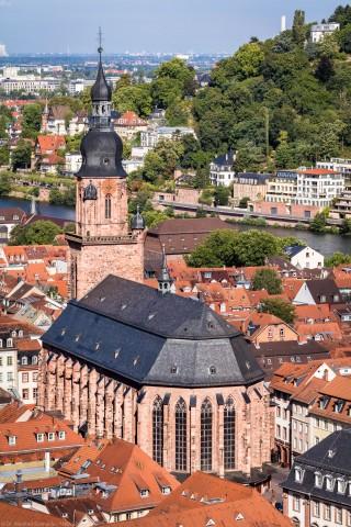 Heidelberg - Heiliggeistkirche - Aussen / Südost - Blick vom Schloss auf die Südostseite (aufgenommen im August 2015, am Vormittag)
