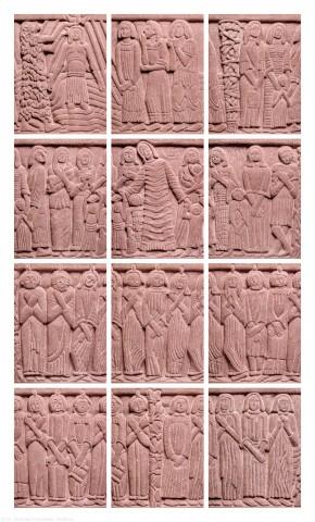 Heidelberg - Heiliggeistkirche - Altarbereich - Taufbecken von Edzard Hobbing - Sequentielle Abfolge aller Segmente (aufgenommen im September 2015, am frühen Nachmittag)