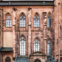 Heidelberg - Heiliggeistkirche - Aussen / Nord - Blick auf die Nordfassade, das Nordschiff und die Nordempore (aufgenommen im Oktober 2015, am späten Vormittag)