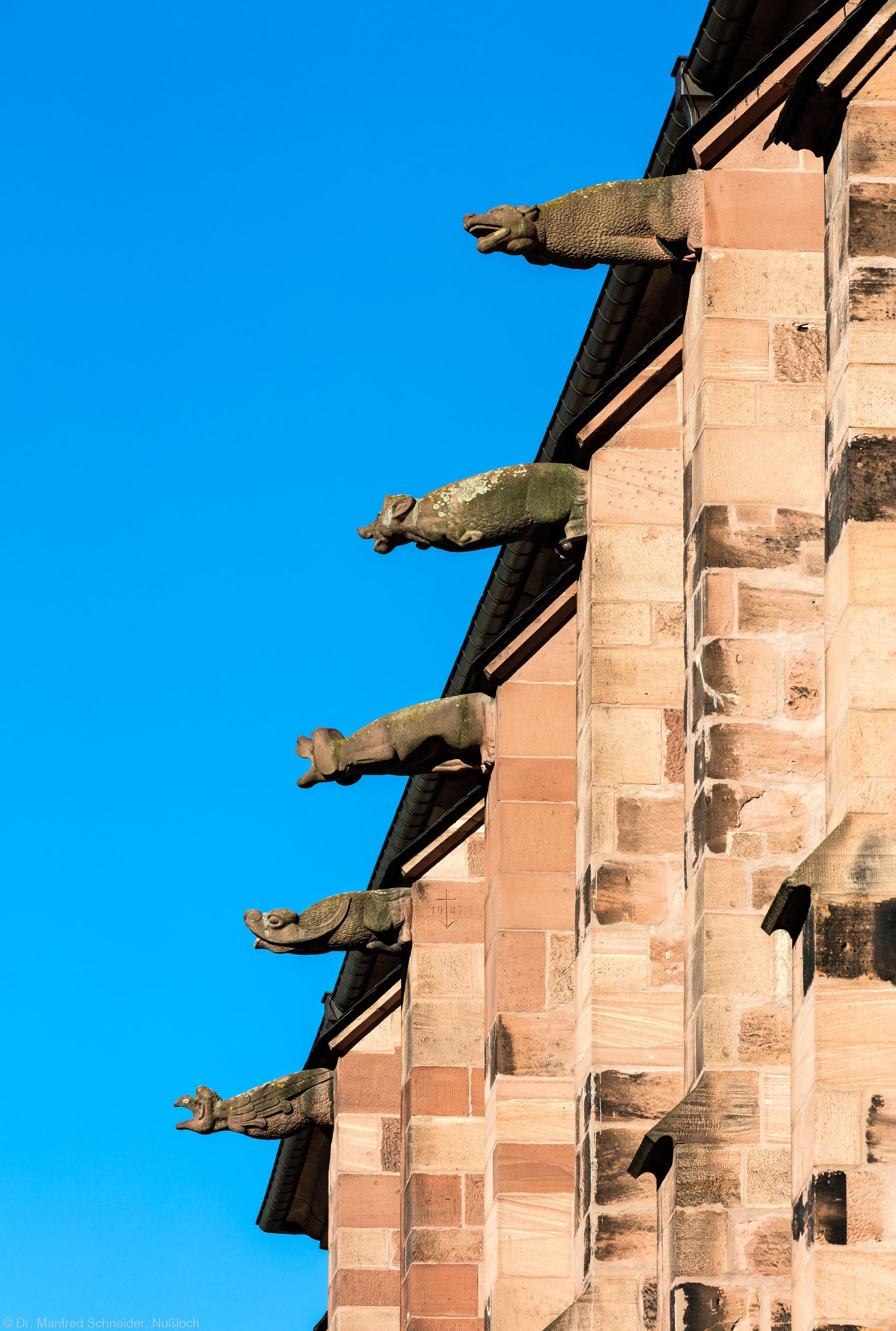 Heidelberg - Heiliggeistkirche - Dach - Südseite - Blick von Osten auf alle Wasserspeier (aufgenommen im Oktober 2015, am Vormittag)