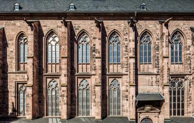 Heidelberg - Heiliggeistkirche - Südseite - Blick auf das Südschiff und die Südempore (aufgenommen im Oktober 2015, am Nachmittag)