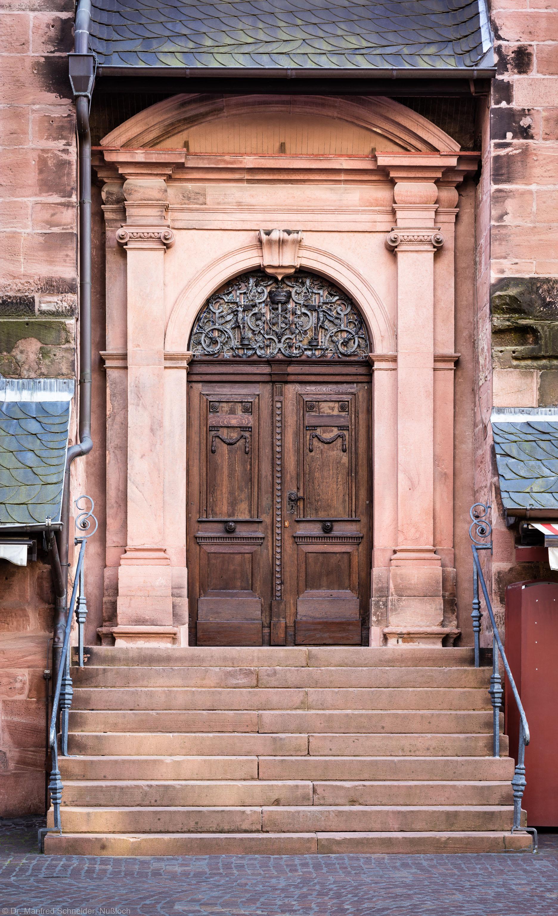 Heidelberg - Heiliggeistkirche - Nordseite - Mittleres Nordportal - Blick auf das gesamte Portal mit der Treppe (aufgenommen im Oktober 2015, am späten Nachmittag)