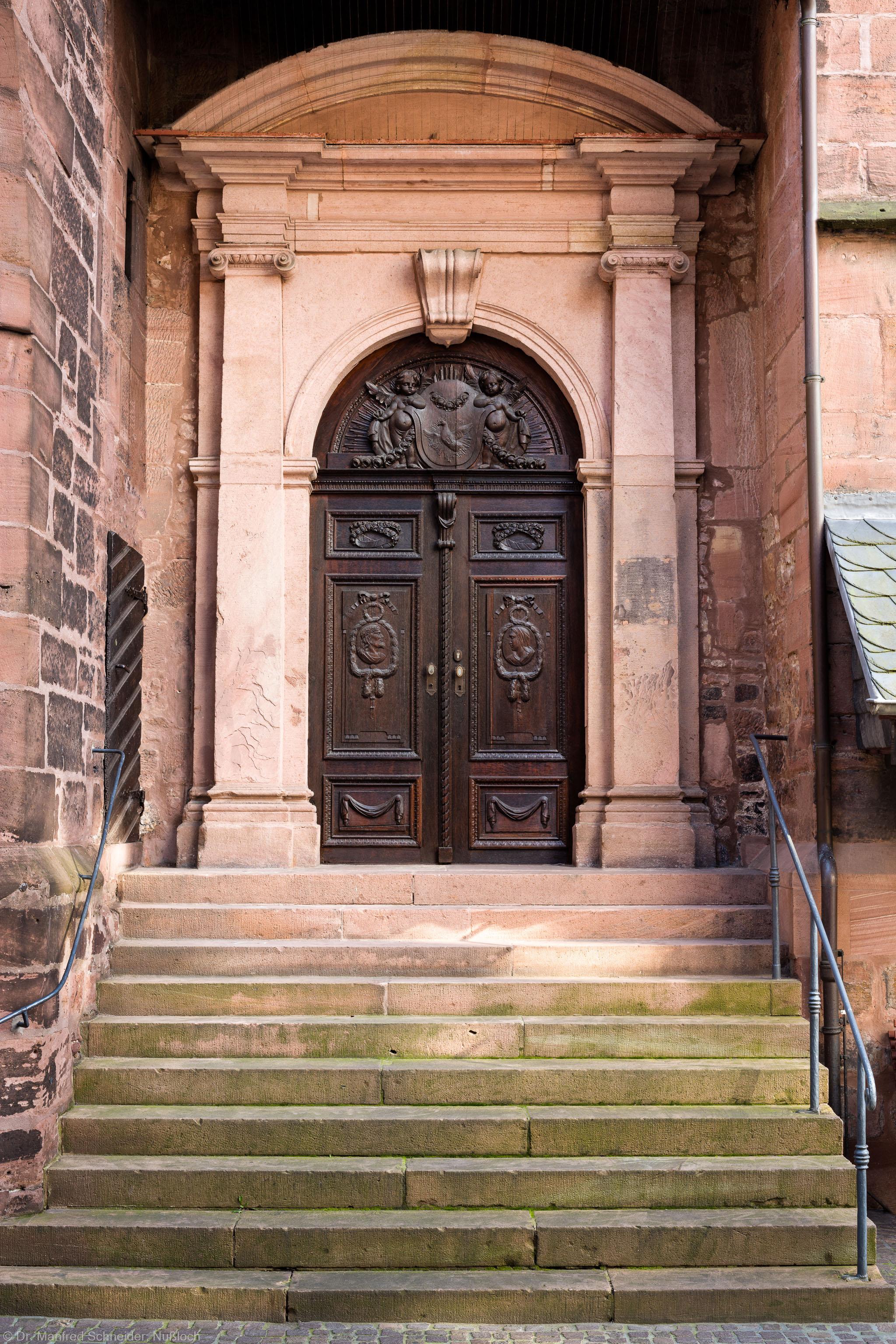 Heidelberg - Heiliggeistkirche - Nordseite - Östliches Nordportal - Blick auf das gesamte Portal mit der Treppe (aufgenommen im Oktober 2015, am späten Nachmittag)