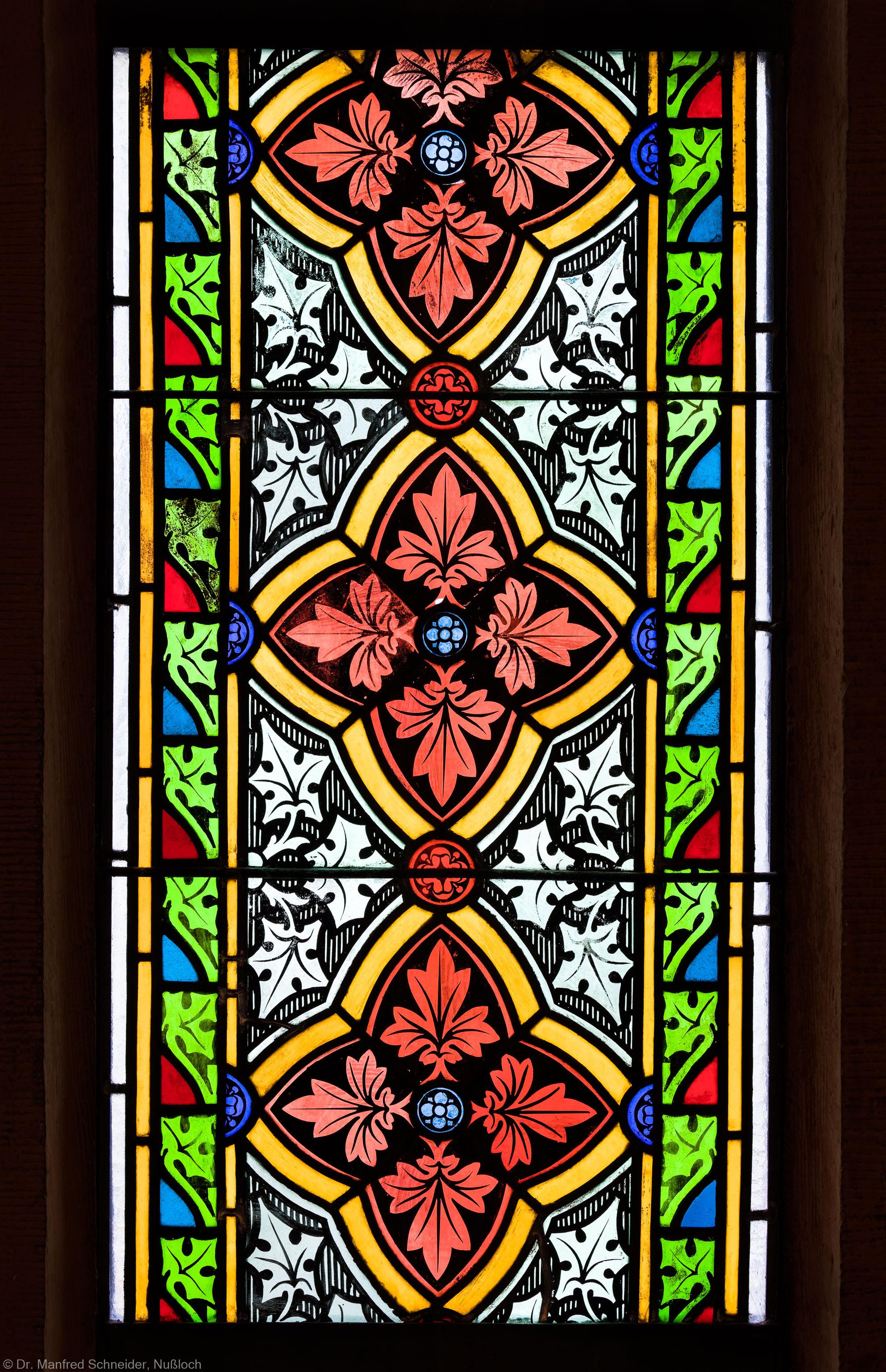 Heidelberg - Heiliggeistkirche - Südschiff - 2. Joch, von Westen aus gezählt - Feld (mittlere Bahn, dritte Zeile) des Ornamentfensters (aufgenommen im Oktober 2015, am späten Nachmittag)