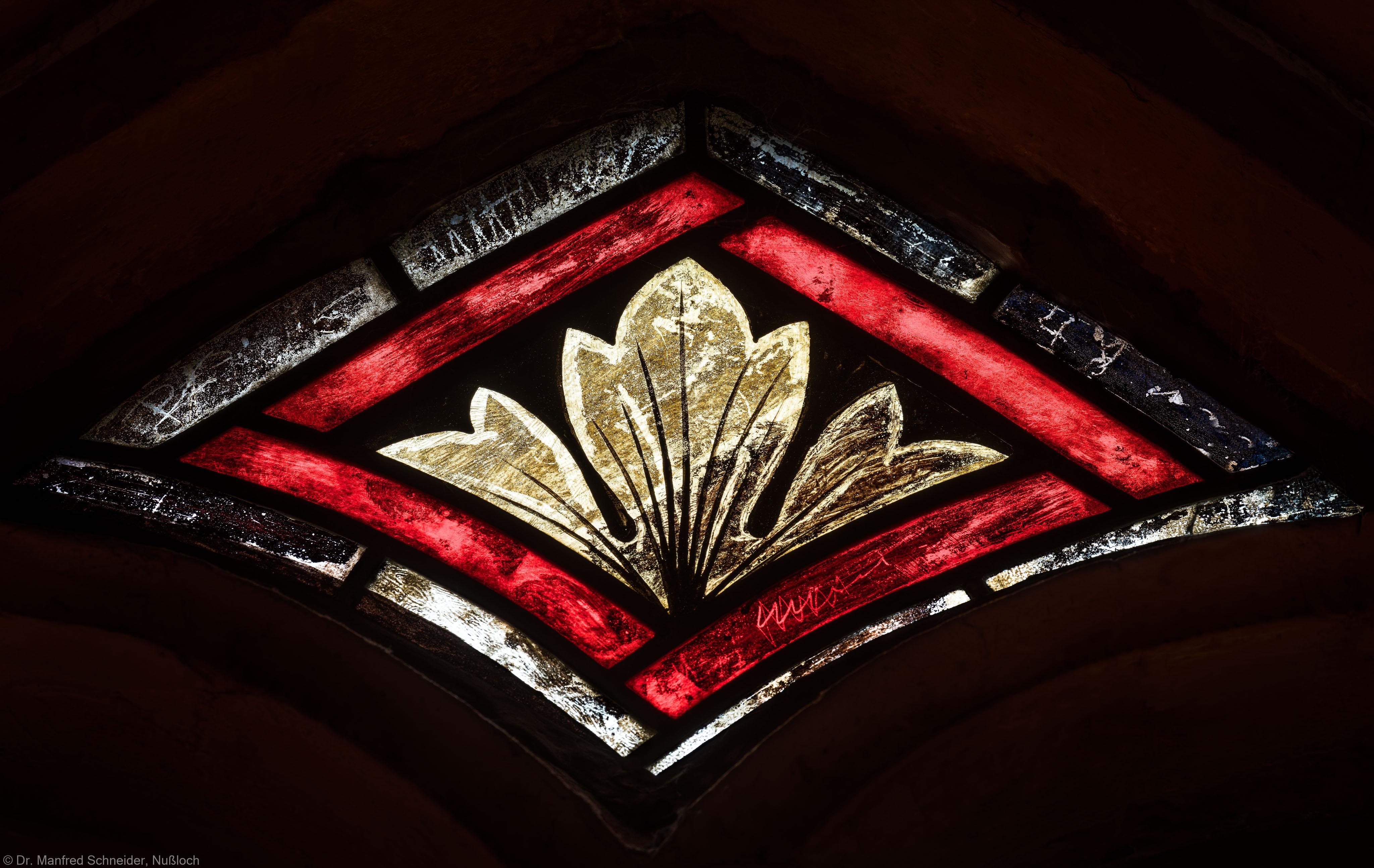 Heidelberg - Heiliggeistkirche - Südschiff - 2. Joch, von Westen aus gezählt - Raute im Maßwerk des Ornamentfensters (aufgenommen im Oktober 2015, um die Mittagszeit)