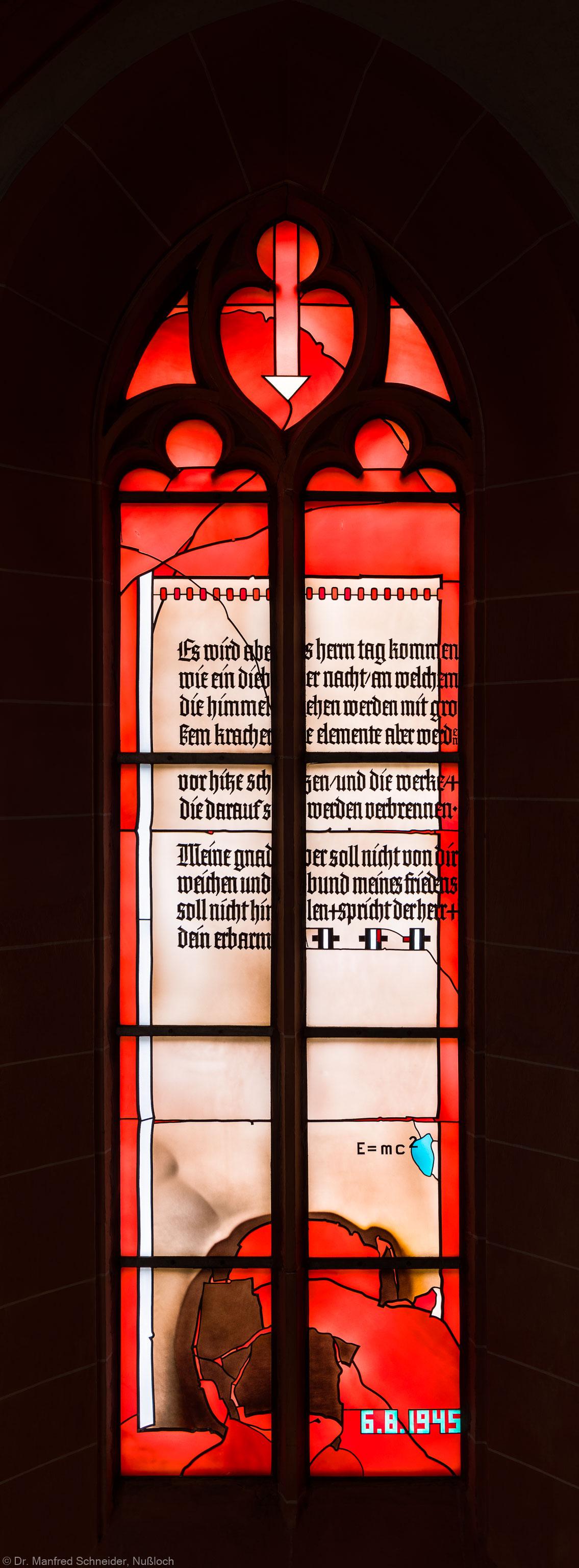 """Heidelberg - Heiliggeistkirche - Südschiff - 1. Joch, von Westen aus gezählt - Gesamtaufnahme des """"Physik-Fensters"""" von Johannes Schreiter (aufgenommen im Oktober 2015, am späten Vormittag)"""