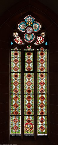 Heidelberg - Heiliggeistkirche - Südschiff - 3. Joch, von Westen aus gezählt - Gesamtaufnahme des Ornamentfensters (aufgenommen im Oktober 2015, am frühen Nachmittag)