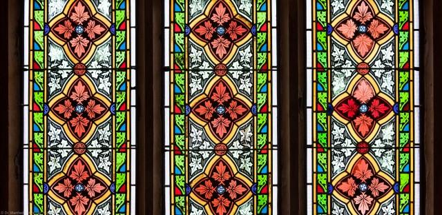 Heidelberg - Heiliggeistkirche - Südschiff - 3. Joch, von Westen aus gezählt - Felder (zweite Zeile) des Ornamentfensters (aufgenommen im Oktober 2015, am Nachmittag)