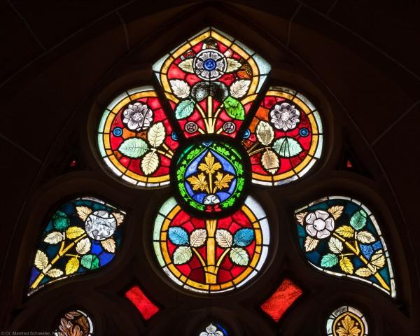 Heidelberg - Heiliggeistkirche - Südschiff - 4. Joch, von Westen aus gezählt - Ausschnitt aus dem Maßwerk des Ornamentfensters (aufgenommen im Oktober 2015, am Nachmittag)