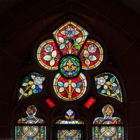 Heidelberg - Heiliggeistkirche - Südschiff - 4. Joch, von Westen aus gezählt - Maßwerk des Ornamentfensters (aufgenommen im Oktober 2015, am Nachmittag)