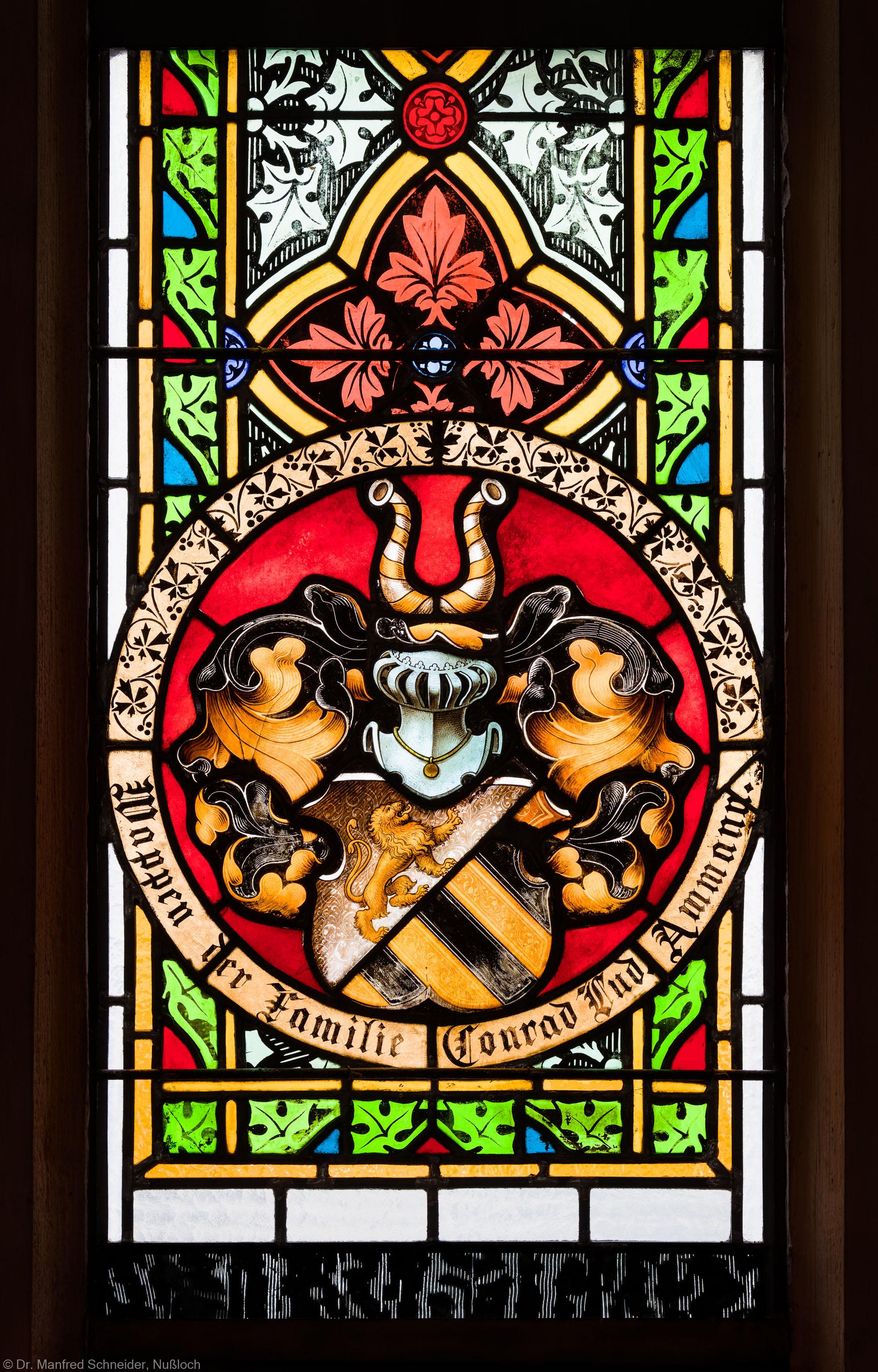 Heidelberg - Heiliggeistkirche - Südschiff - 3. Joch, von Westen aus gezählt - Feld (mit Wappen) des Ornamentfensters (aufgenommen im Oktober 2015, am Nachmittag)