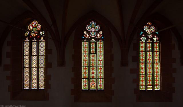 Heidelberg - Heiliggeistkirche - Südschiff - 2. bis 4. Joch, von Westen aus gezählt - Die drei Ornamentfenster (aufgenommen im Oktober 2015, am Nachmittag)