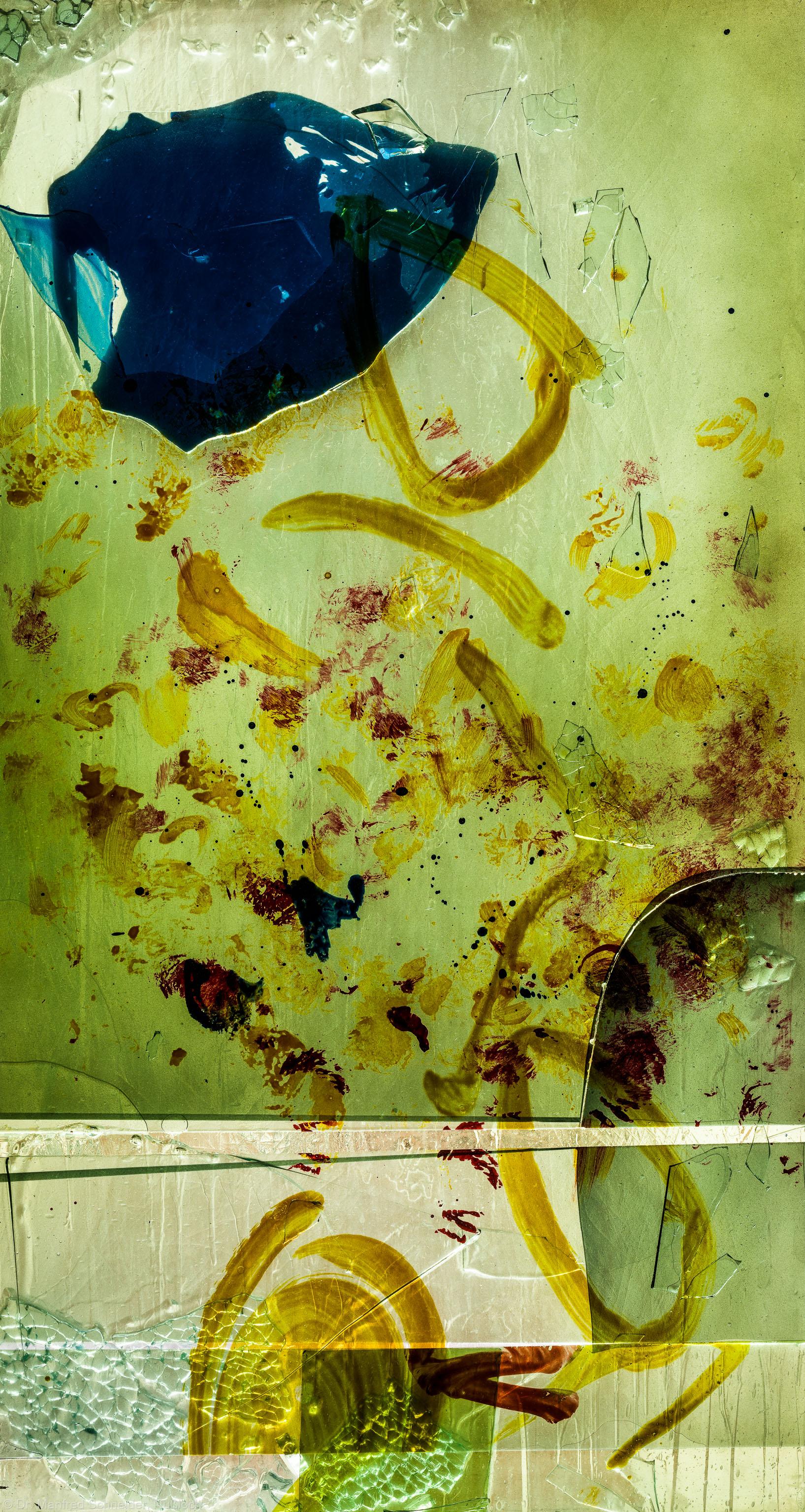 """Heidelberg - Heiliggeistkirche - Nordschiff - 6. Joch, von Westen aus gezählt - Feld (mittlere Bahn, zweite Zeile) des Fensters """"Schöpfungsgeschichte - Der Baum der Erkenntnis"""" von Hella De Santarossa (aufgenommen im Oktober 2015, um die Mittagszeit)"""