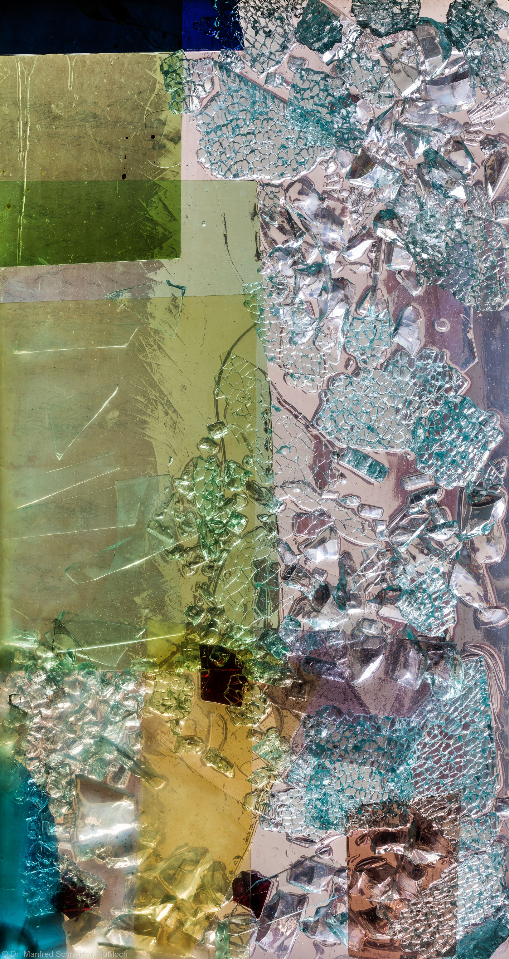 """Heidelberg - Heiliggeistkirche - Nordschiff - 6. Joch, von Westen aus gezählt - Feld (rechte Bahn, vierte Zeile) des Fensters """"Schöpfungsgeschichte - Der Baum der Erkenntnis"""" von Hella De Santarossa (aufgenommen im Oktober 2015, am frühen Nachmittag)"""