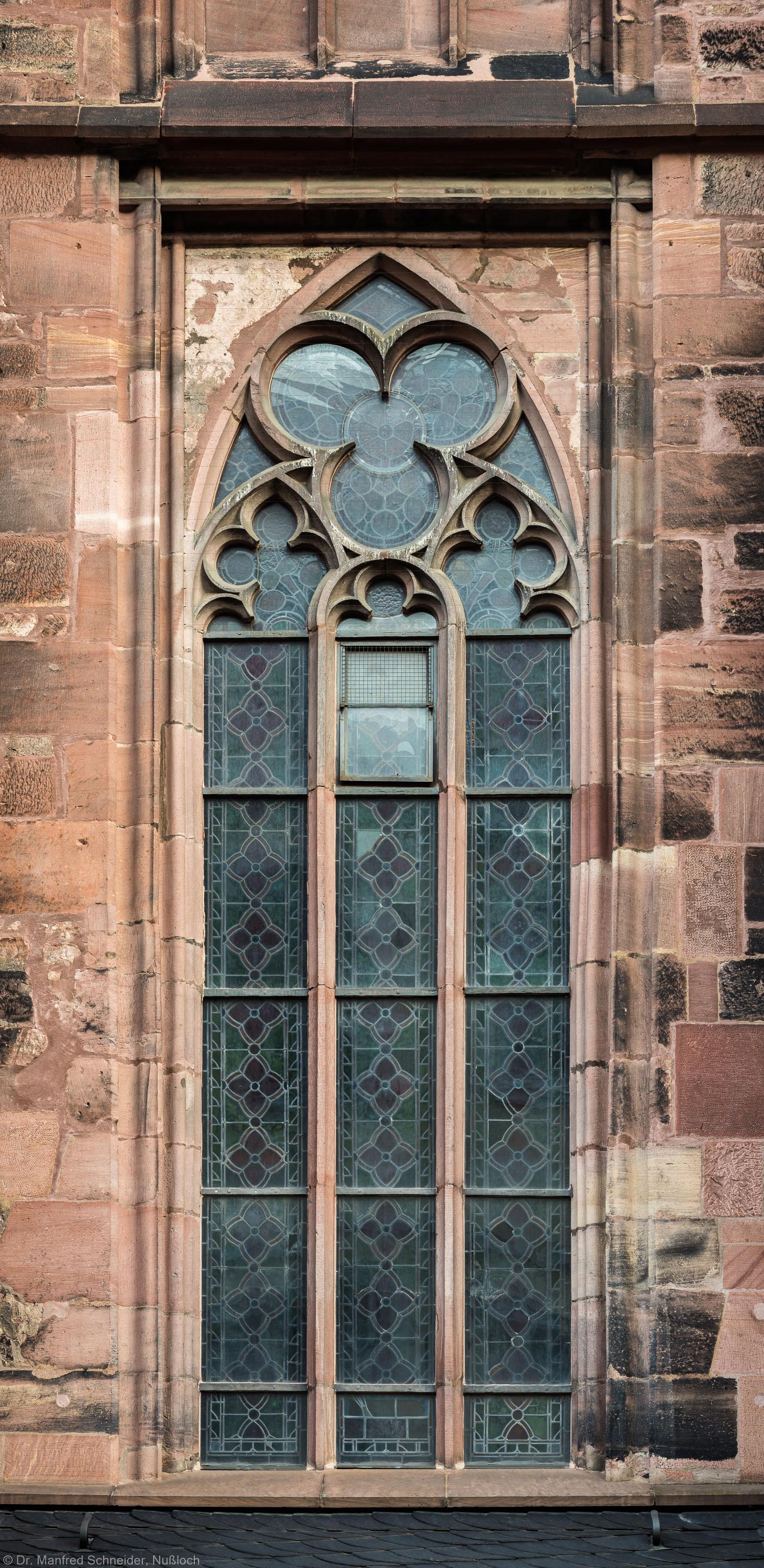 Heidelberg - Heiliggeistkirche - Südseite - 2. Fenster des Südschiffs, von Westen aus gezählt - Blick auf das Ornamentfenster (aufgenommen im November 2015, am Vormittag)
