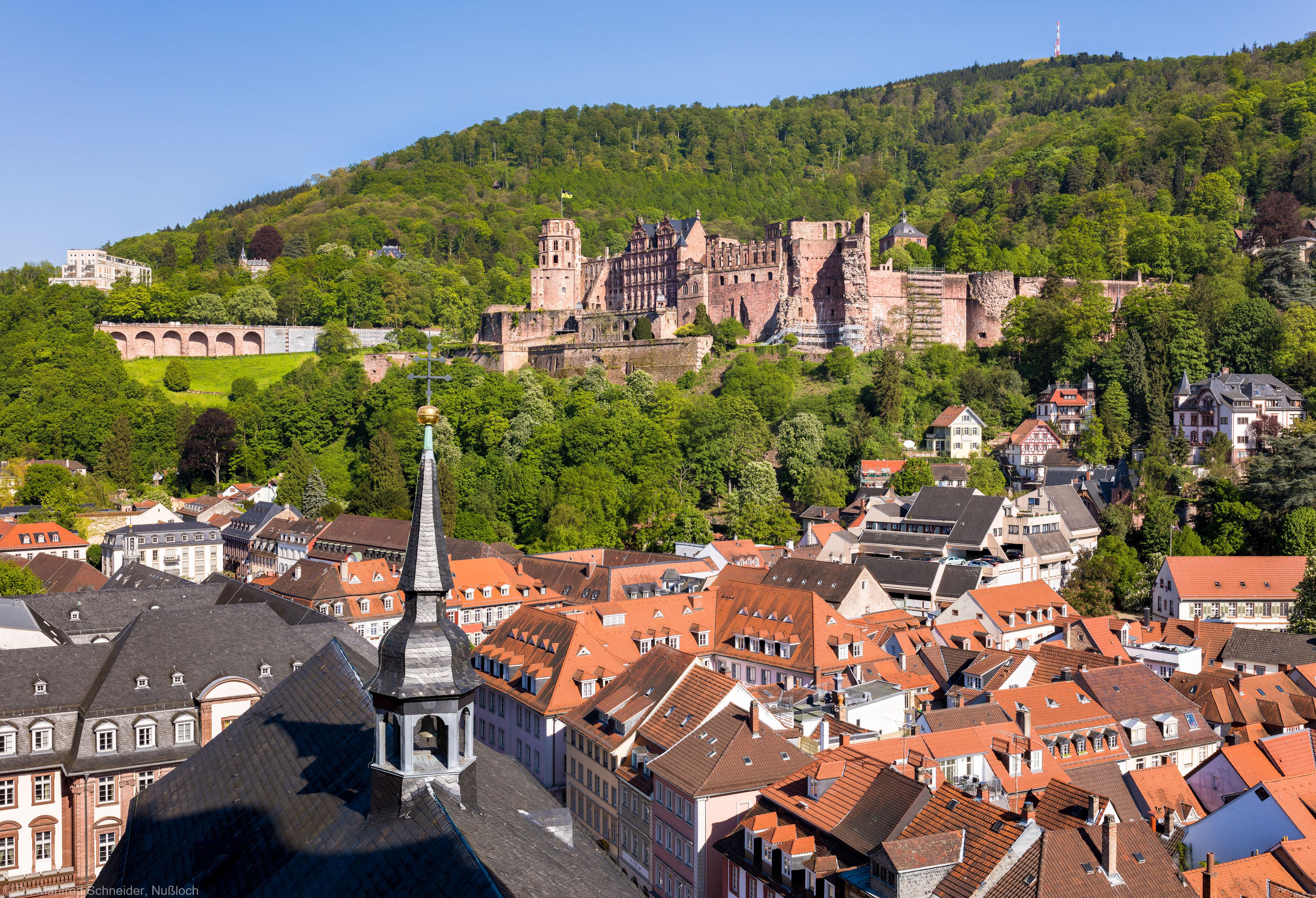 Heidelberg - Heiliggeistkirche - Umgebung - Blick vom Turm nach Südosten (aufgenommen im Mai 2016, am späten Nachmittag)