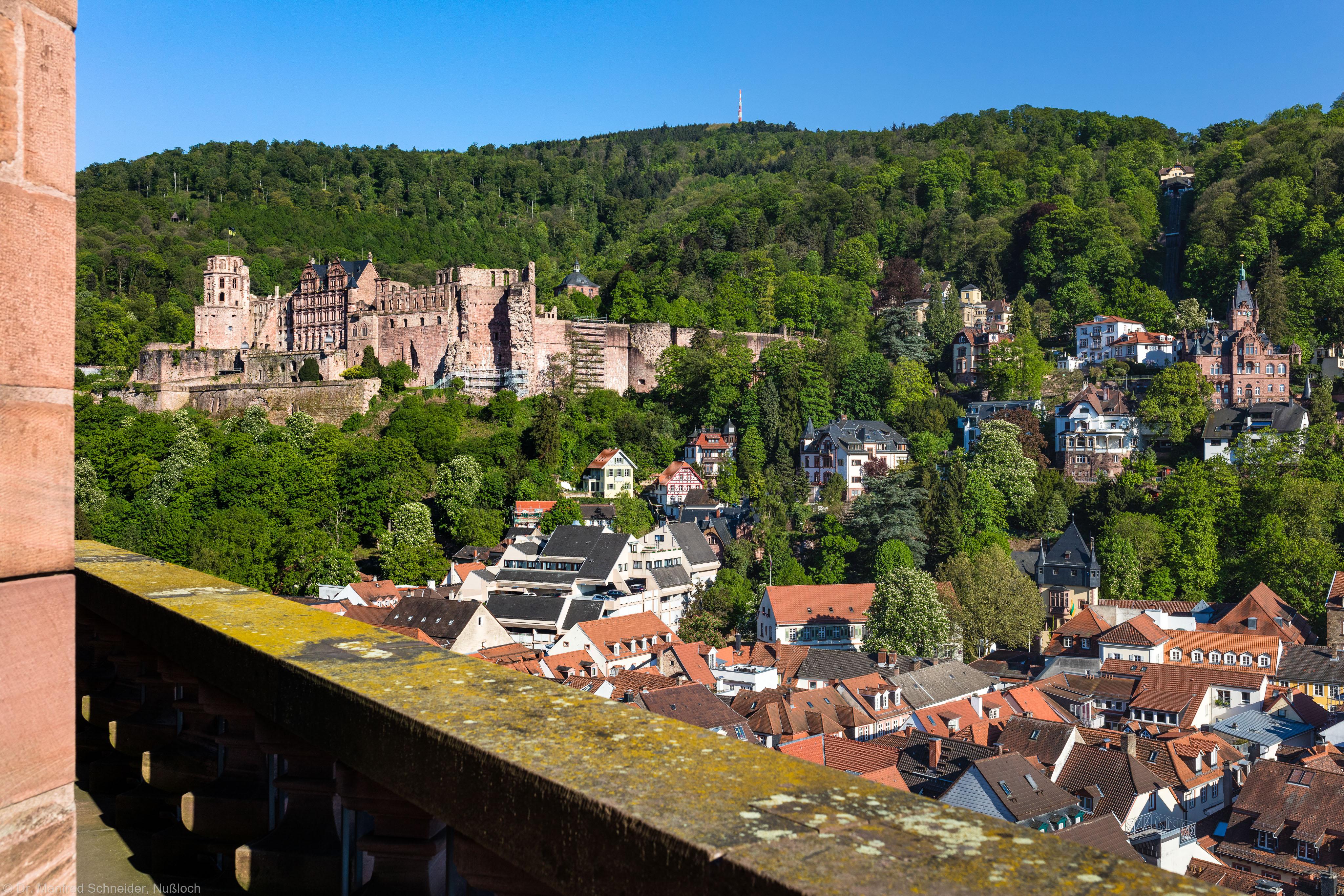 Heidelberg - Heiliggeistkirche - Umgebung - Blick vom Turm nach Südosten (aufgenommen im Mai 2016, am frühen Abend)